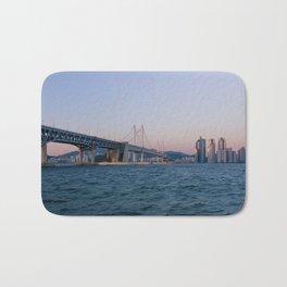Gwangan Bridge and Haeundae Skyscrapers Bath Mat