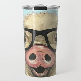 Cute Pig Painting, Farm Animal with Glasses Travel Mug