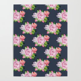 Blush pink blue coral watercolor floral tulips pattern Poster