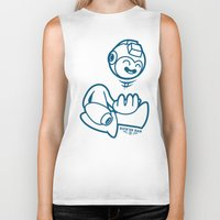 mega man Biker Tanks featuring Mega Man by La Manette