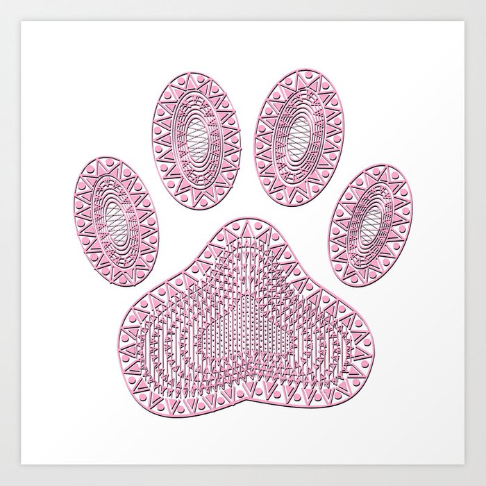 Abstract Pink Ink Dog Paw Print Art Print by almdrs
