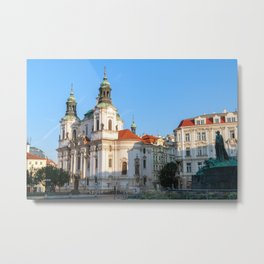 St. Nicholas Church in the old town of Prague. Metal Print