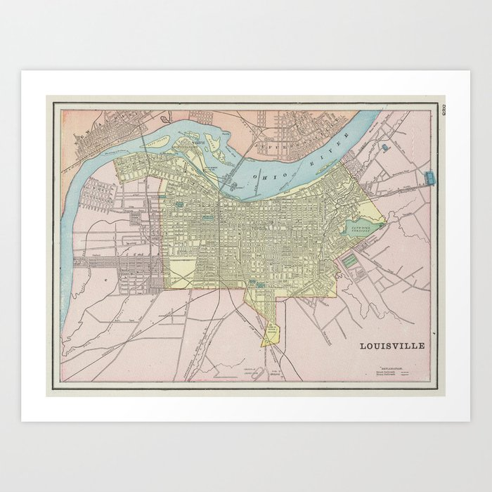 image relating to Printable Map of Kentucky named Typical Map of Louisville KY (1901) Artwork Print