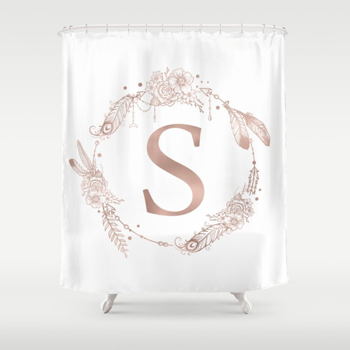 Letter S Rose Gold Pink Initial Monogram Shower Curtain