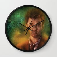 david tennant Wall Clocks featuring 10th Doctor David Tennant by SachsIllustration