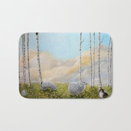 Afternoon on the Hill Birch Tree Painting Bath Mat