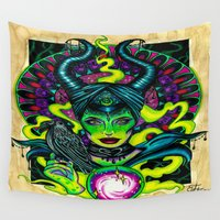 maleficent Wall Tapestries featuring Maleficent  by Lady Noire