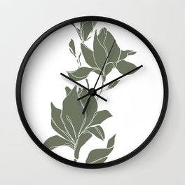 Botanical illustration line drawing - Magnolia Green Wall Clock