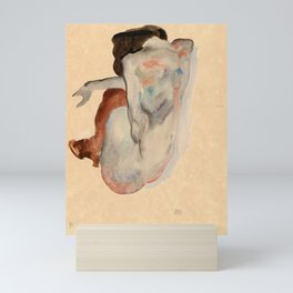 Egon Schiele - Crouching Nude in Shoes and Black Stockings, Back View Mini Art Print