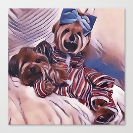 2 Yorkies Getting Ready For Bed Canvas Print