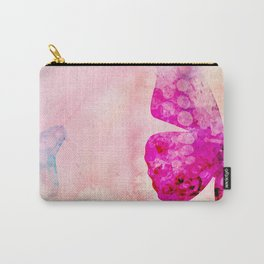 Pink Watercolor Butterfly Carry-All Pouch