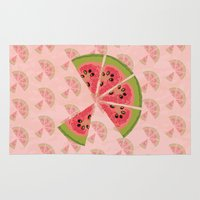 watermelon Area & Throw Rugs featuring Watermelon  by brocoli art print