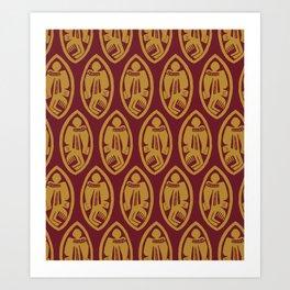 Burgundy Yellow African Masks Pattern Art Print