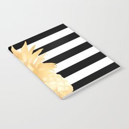 Gold Pineapple Black and White Stripes Notebook