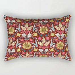 Florid Dreams Red Rectangular Pillow