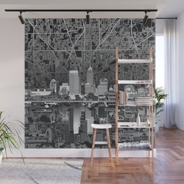 indianapolis city skyline black and white Wall Mural