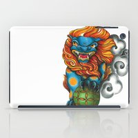foo fighters iPad Cases featuring Foo Dog by missfortunetattoo