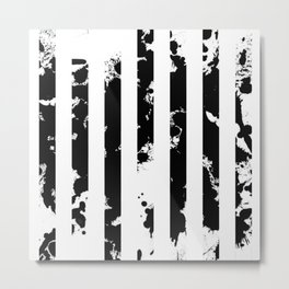 Splatter Bars - Black ink, black paint splats in a stripey stripy pattern Metal Print