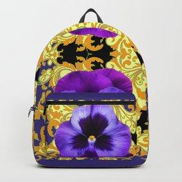 PURPLE PANSIES ON BLACK & GOLD BROCADE GARDEN Backpack