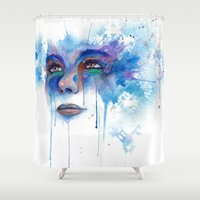 bjork Shower Curtains featuring Frosti by Paz Art
