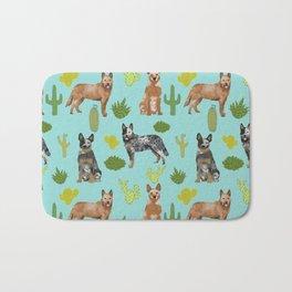 Australian Cattle Dog cactus pet friendly dog breed dog pattern art Bath Mat