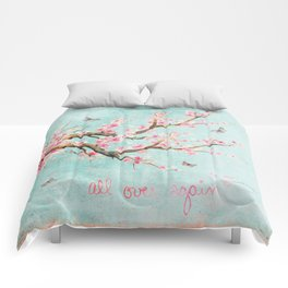 Its All Over Again - Romantic Spring Cherry Blossom Butterfly Illustration on Teal Watercolor Comforters