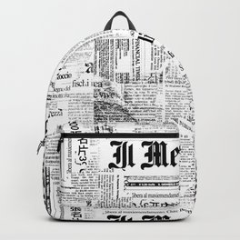Black And White Collage Of Grunge Newspaper Fragments Backpack