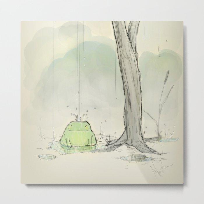 The frog under the rain Metal Print