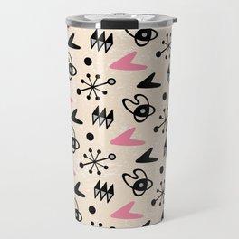 Mid Century Modern Atomic Boomerang Pattern Pink 103 Travel Mug