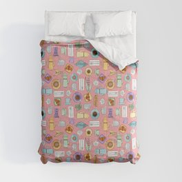 Midcentury Pastel Parisian Cafe - Pink Comforters