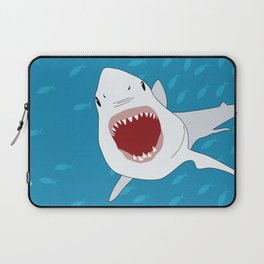 Shark Attack Underwater With Fish Swimming In The Background Laptop Sleeve
