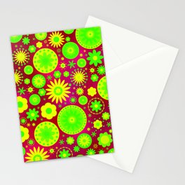 Blue and Purple Hippie Flower Pattern Stationery Cards