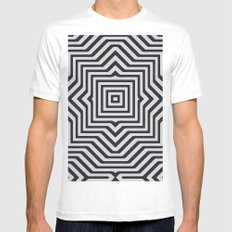 Minimal Geometrical Optical Illusion Style Pattern in Black & White White Mens Fitted Tee MEDIUM