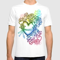 my chained heart MEDIUM Mens Fitted Tee White