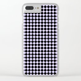 Black and Pale Lavender Violet Diamonds Clear iPhone Case