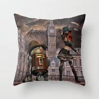 sci fi Throw Pillows featuring Steampunk Sci-Fi 2 by gypsykissphotography