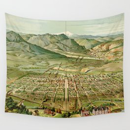 Vintage Colorado Springs and Pikes Peak Map (1890) Wall Tapestry