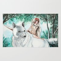 princess mononoke Area & Throw Rugs featuring Princess Mononoke by VivianLohArts