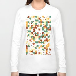 Waiting for Fall - Random Pixel Pattern in Green, Orange and Yellow Long Sleeve T-shirt