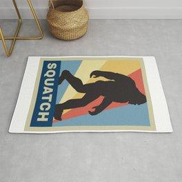 Funny Vintage Retro Sasquatch Bigfoot Gift Silhouette Gag Gift Rug