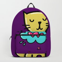 Cat in love woundering, sketchy doodles Backpack