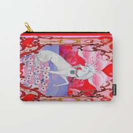 Unicorn Love Valentine in Pink & red Carry-All Pouch