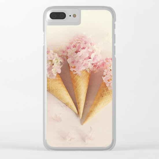 fresh flowers in ice cream cone Clear iPhone Case