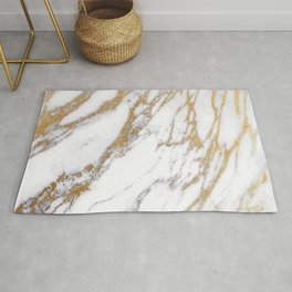 Elegant Creamy White Marble With Luscious Gold Veins Rug
