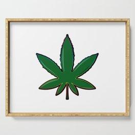 Cool green cannabis hemp leaf Serving Tray