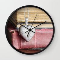 college Wall Clocks featuring College Romance by Colleen Farrell