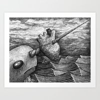 narwhal Art Prints featuring Narwhal by GrimReminders