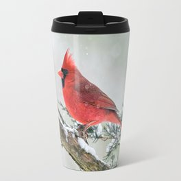 Cardinal Holding Steady in the Storm Travel Mug