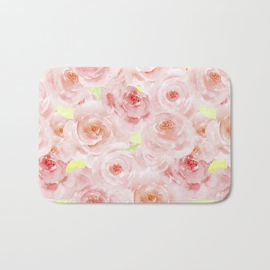 Rose pattern- Beautiful watercolor roses background Bath Mat