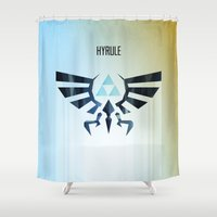hyrule Shower Curtains featuring The Legend of Zelda - Hyrule Rising Poster by Barrett Biggers